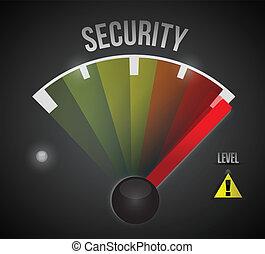 segurança, nível, medida, medidor, de, baixo, para, alto
