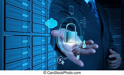 segurança, negócio, homem negócios, toque, internet, 3d, computador, mostrando, padlock, tela, online, mão, conceito