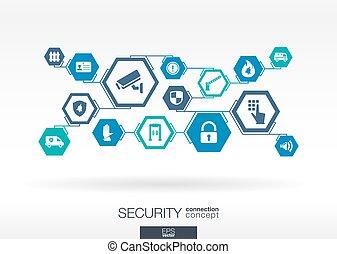 segurança, network., hexágono, abstratos, fundo