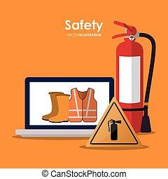 segurança, no trabalho, ícone, desenho