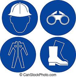 segurança, no trabalho, azul, sinais