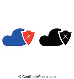 segurança, nuvem, ícone