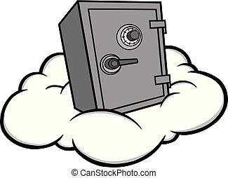 segurança, nuvem, ilustração