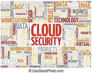 segurança, palavra, nuvem