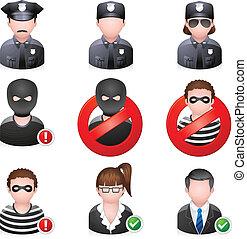 segurança, pessoas, -, ícones