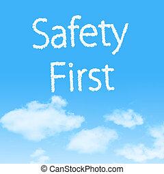 segurança primeiro, nuvem, ícone, com, desenho, ligado, céu azul, fundo