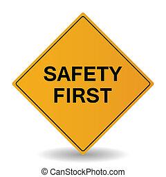 segurança primeiro, vetorial, sinal