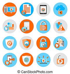 segurança, Proteção, dados, ícones