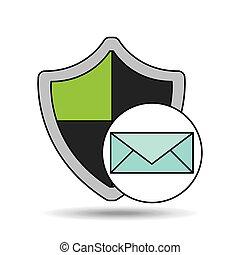 segurança, proteção, desenho, email, escudo