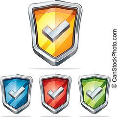 segurança, proteção, escudo, icons.