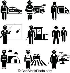 segurança, segurança, trabalhos, público
