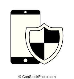 segurança, smartphone, escudo, cyber, proteção