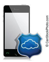 segurança, smartphone, nuvem
