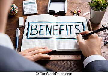 segurança, social, benefícios, desenho, homem