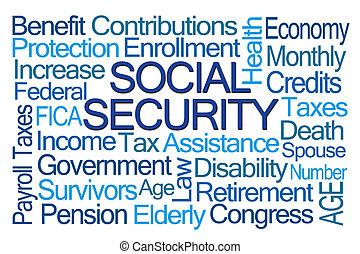 segurança social, palavra, nuvem