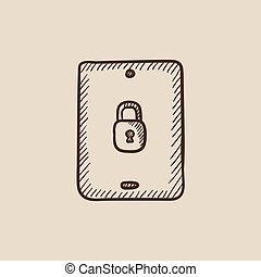segurança, tabuleta, icon., esboço, digital
