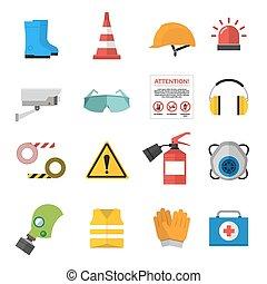segurança, trabalho, vetorial, ícones, apartamento, estilo