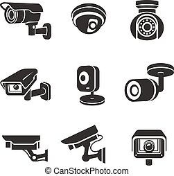 segurança, vídeo, jogo, ícone, pictograms, gráfico, câmeras ...