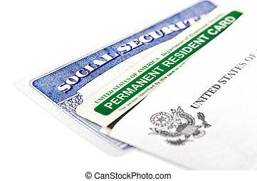 segurança, verde, cartão, social