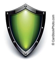 segurança, verde, escudo
