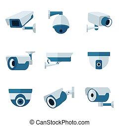 segurança, vetorial, câmera, jogo, ícones, cctv, apartamento