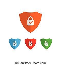 segurança, vetorial, escudo, ícone