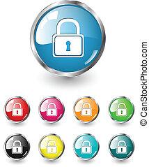 segurança, vetorial, jogo, ícones