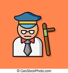 segurança, vetorial, policial, ícone