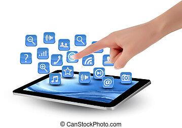 segurando, é, tela, icons., mão, pc, tocar, almofada, dedo,...