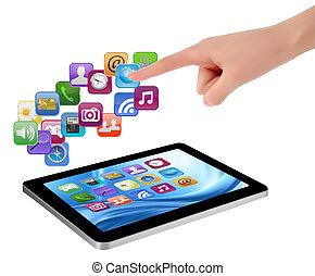 segurando, é, tela, icons., mão, pc, tocar, almofada, dedo, vector., toque