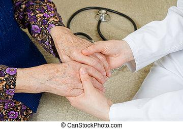 segurando, a, mãos