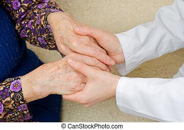 segurando, antigas, mãos