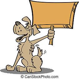segurando, arte, cão, clip, sinal