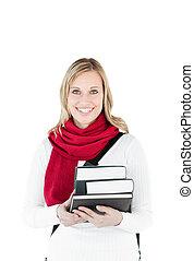 segurando, atraente, livros, mulher