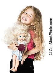 segurando, boneca, menina, pequeno, retrato, ligar