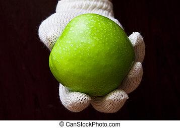 segurando, branca, maçã, luva, mão