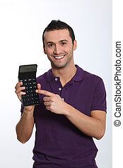 segurando, calculadora, jovem, fundo, branca, homem