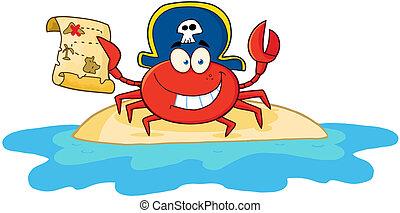 segurando, carangueijo, mapa pirata, tesouro