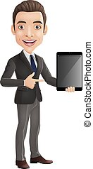 segurando, caricatura, jovem, feliz, homem negócios, tabuleta