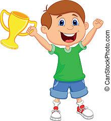 segurando, caricatura, ouro, menino, troféu