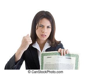 segurando, certificado, waving, zangado, estoque, mulher, punho, caucasiano