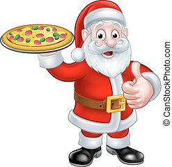 segurando, claus, caricatura, santa, pizza