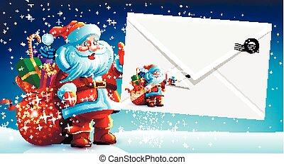 segurando, claus, envelope, presentes, saco, santa