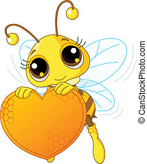segurando, coração, doce, abelha, cute