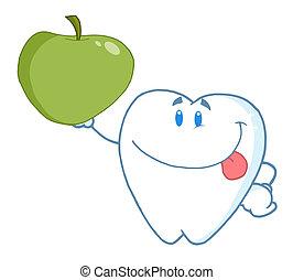 segurando, dente, cima, maçã verde