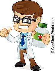 segurando, doutor, abandone, garrafa, medicina, polegar