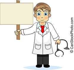 segurando, doutor, cortejar, cute, menino, em branco