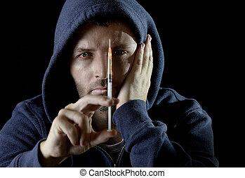 segurando, droga heroína, homem doente, viciado, capuz, ...