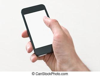segurando, e, tocar, ligado, telefone móvel, com, tela branco