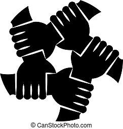 segurando, eachother, silhuetas, mãos humanas, solidariedade